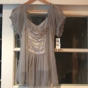 Grey/silver short sleeve top NWT